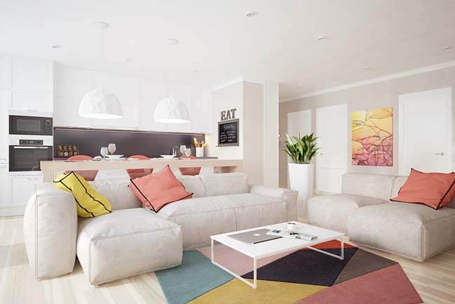 Modern apartment with lovely colors by jb design for Living room jb