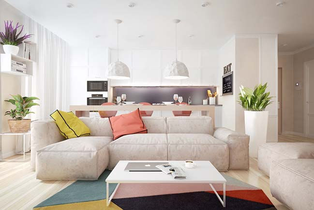 Modern apartment with lovely colors by JB Design