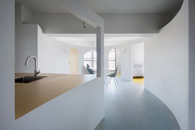 Apartment renovation with curving walls by MAMM Design