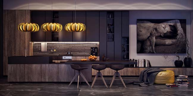 Dark Modern Kitchen kitchen with elegant dark tones