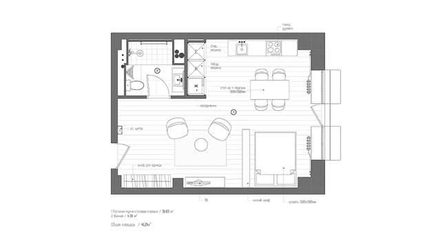 Small apartment 40m2 renovation by interiorma2 for Small apartment layout plans