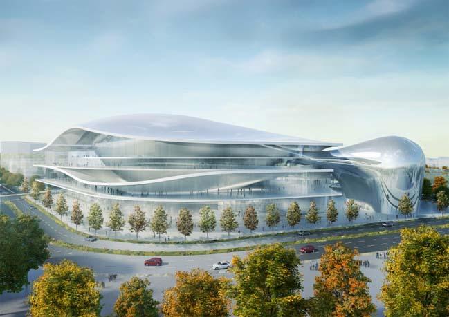 Futuristic architecture of the Australia Forum in Canberra