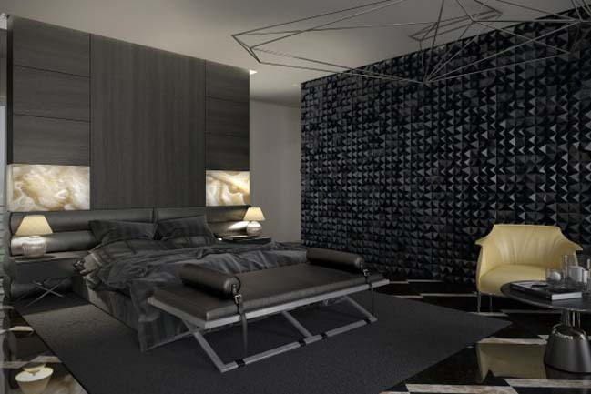 Luxury master bedroom design with dark tone