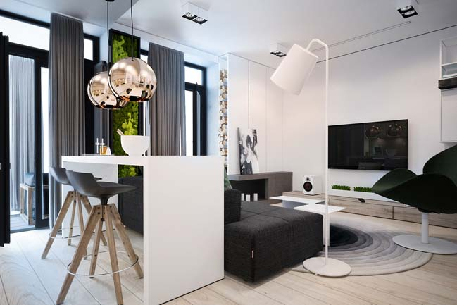 Tiny apartment by yana osipenko for Young modern living room ideas