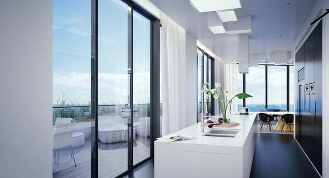 3D rendering: Penthouse in Blue Tel Aviv