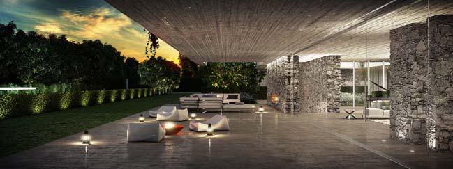 Luxury villa with white quartz rock