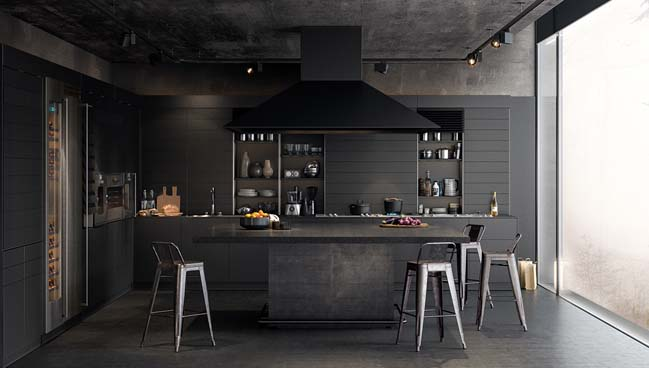 Kitchen design in black tones