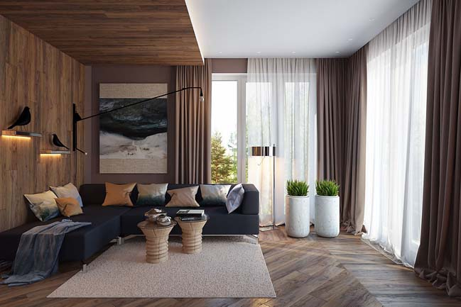4 cozy living rooms with wooden interior design for Interior design styles living room 2015
