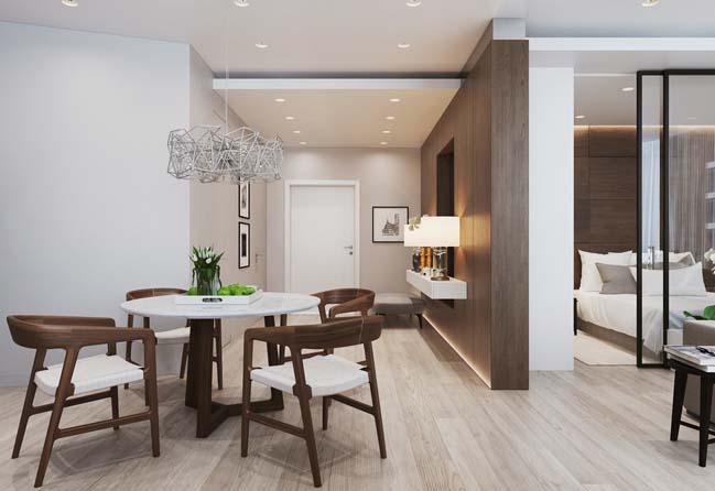 Elegant interior design for small apartment 57sqm