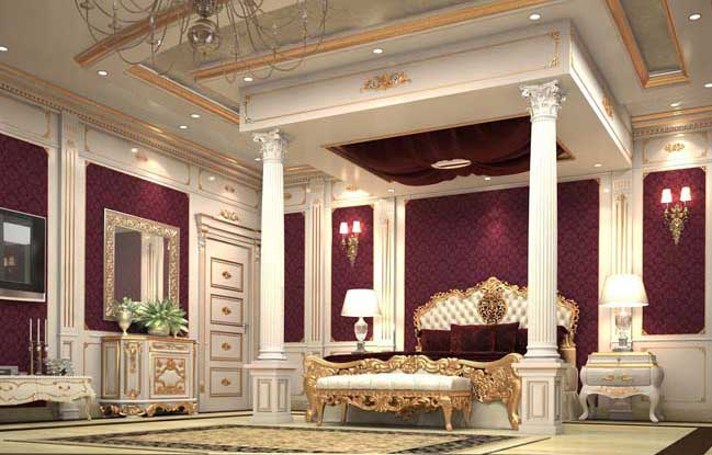 Luxury master bedroom design in classic style for Luxurious bedroom interior design ideas