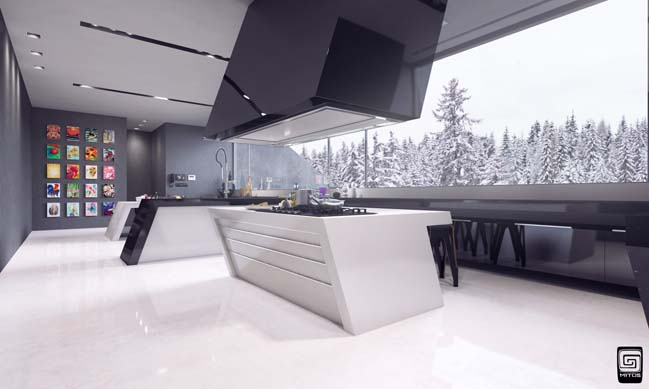 Futuristic kitchen design by m1tos for Awesome warehouse kitchen design