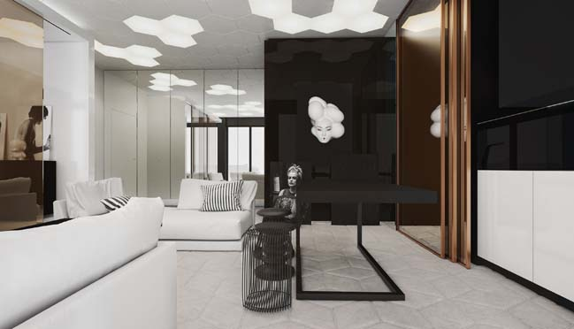 Modern interior design for one bedroom apartment