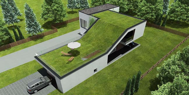 Modern house with huge terrace on the roof for Wohncontainer modern
