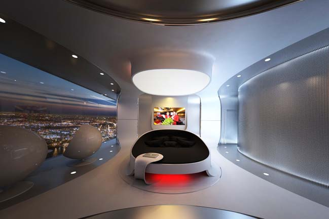 Futuristic bedroom design for luxury penthouse