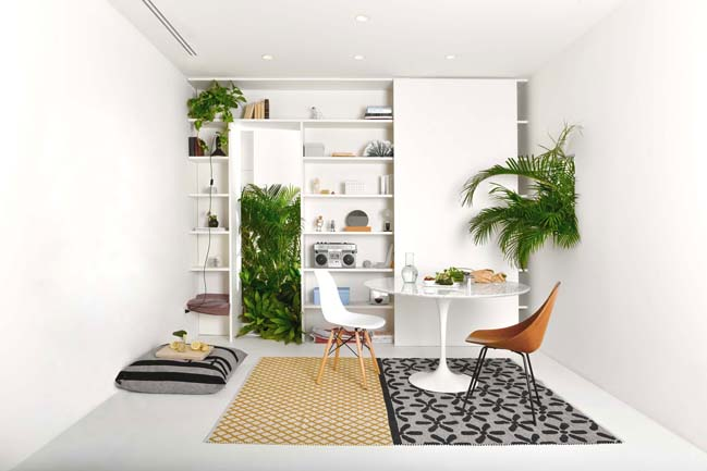 Modern apartment design with numerous plants