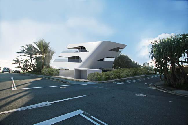 Futuristic house design like as white shells for Futuristic home designs
