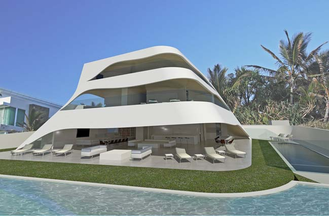 Futuristic house design like as white shells