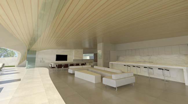 Futuristic house design like as white shells