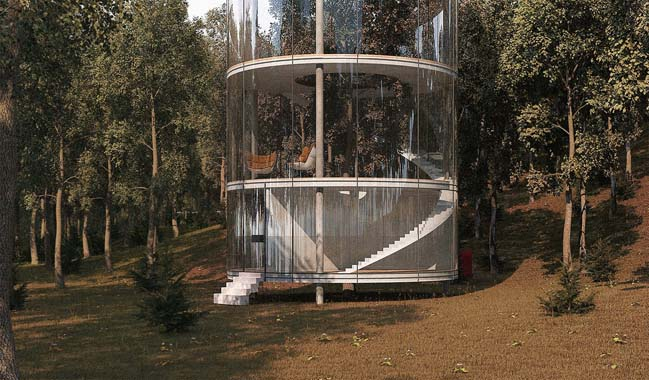 Glass house with tubular design concept by A Masow