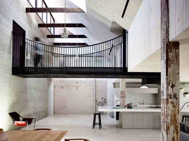 Renovate an old brick warehouse into a family home