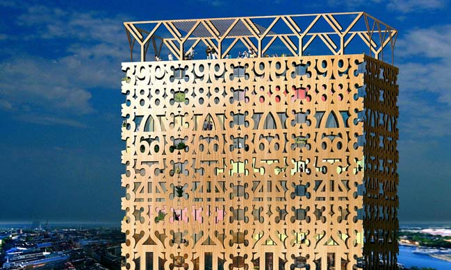 Tratoppen: A skyscraper with wooden decorative facade