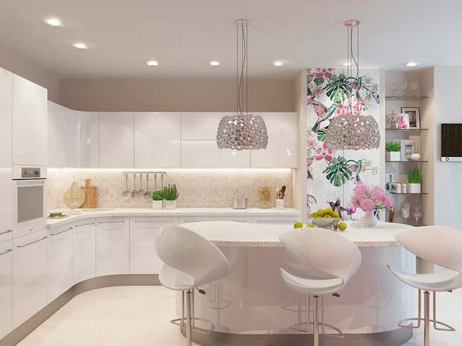 30 most beautiful white kitchen design ideas 2016 for Beautiful kitchen designs with white cabinets