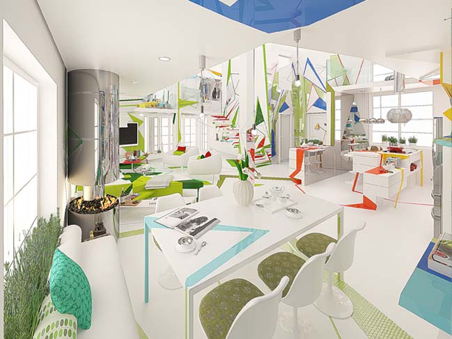 Loft house that use shapes and colors for emotional result