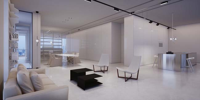White luxury penthouse by Axelrod Architects