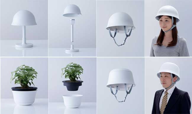 Transform pot or lamp into safety helmet in a emergency