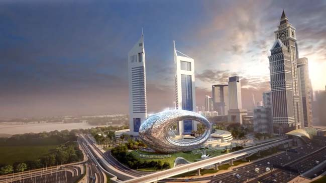 Amazing futuristic architecture of Museum of the Future in Dubai