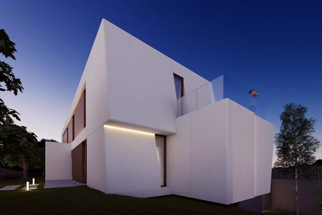 Dream house with white trapezoid-shaped architecture