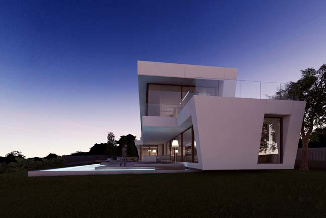 Dream House With White Trapezoid Shaped Architecture