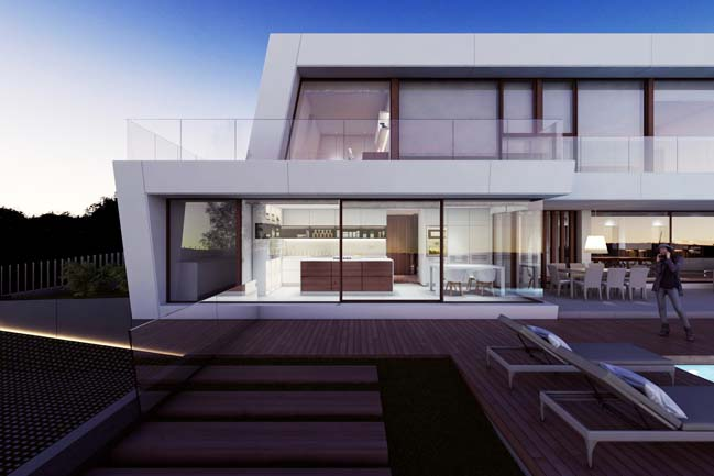Dream house with white trapezoid shaped architecture for Home design agency barcelona
