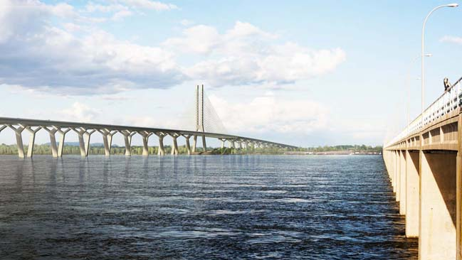 New three-kilometre bridge of St Lawrence river