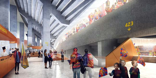 Architectural concept of new FC Barcelona