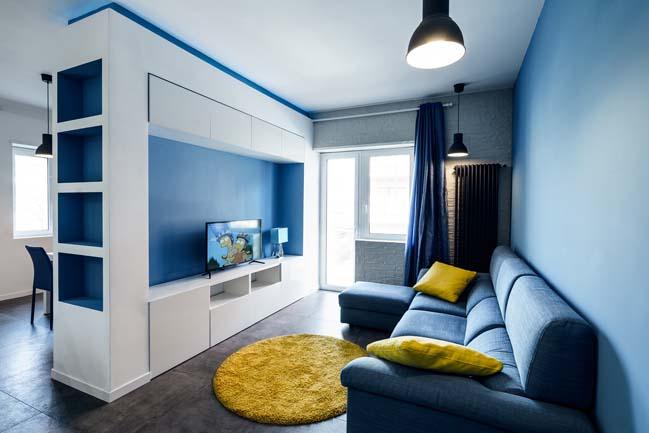 Prismatic blue apartment by Brain Factory