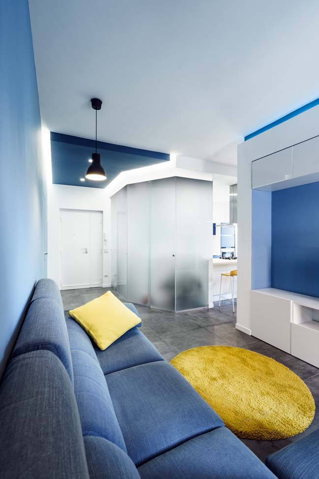Prismatic blue apartment by Brain Factory