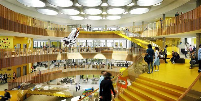 The architectural design of the new LEGO's headquaters