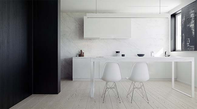 Modern minimalist penthouse apartment in Poland