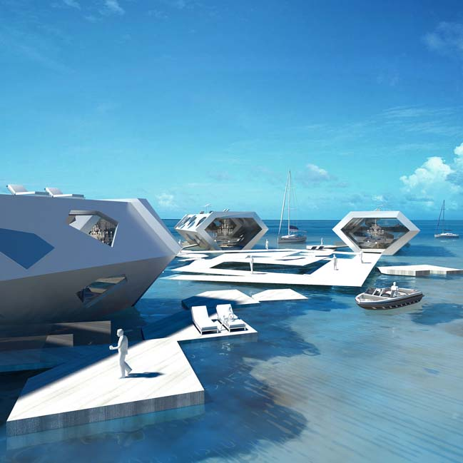 Futuristic architecture concept for luxury resort