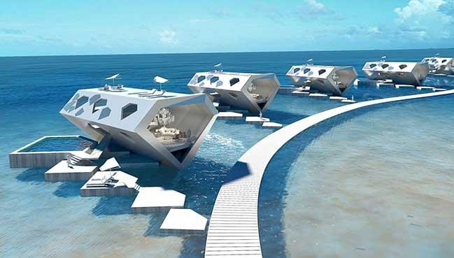 Futuristic architectural concept for luxury resort