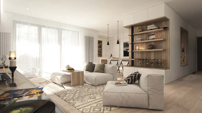Warm and cozy apartment design by noi studio - Decorate one bedroom apartment ...
