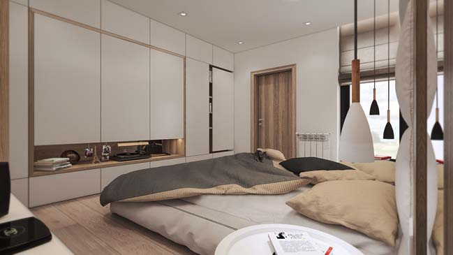 Warm small 1 bedroom apartment design by NOI Studio