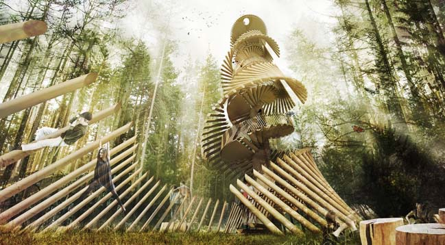 Kaiserwarte: A wooden tower concept in Italy by noa*