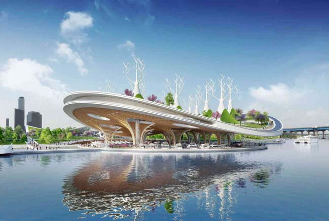 Floating manta ray-shaped ferry terminal by Vincent Callebaut