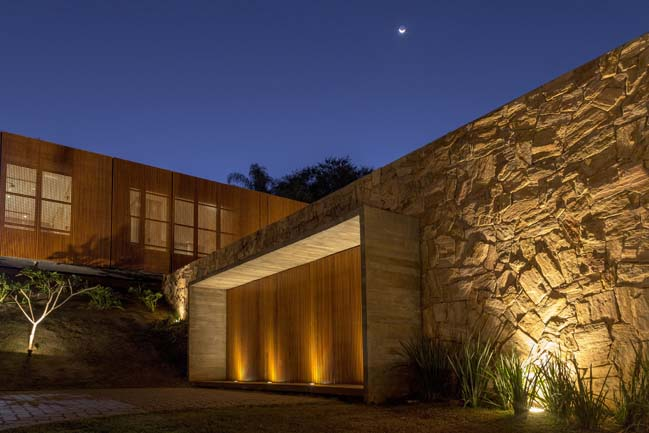 Luxury stone home by mf+arquitetos