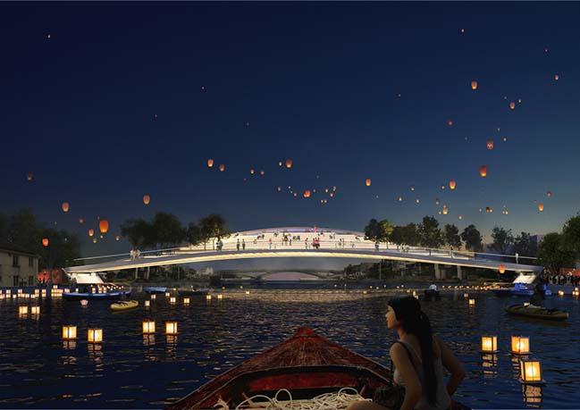 MVRDV's Dawn Bridge offers seats to view a historic town near Shanghai