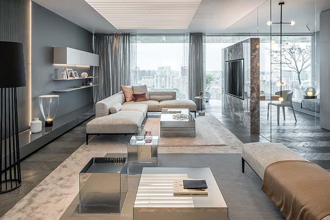 Ippolito Fleitz apartment shades of grey in shanghai by ippolito fleitz