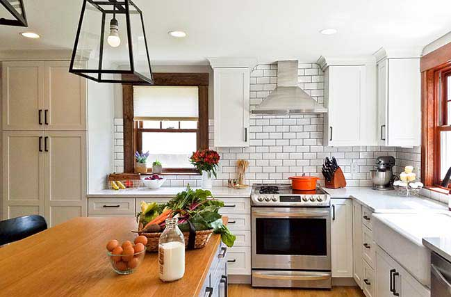 Transitional Farmhouse Kitchen by Bailow Architects