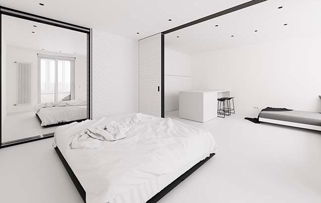 White minimalist apartment in Moscow by FLOW project
